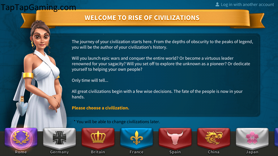 The 8 civilizations you can choose from