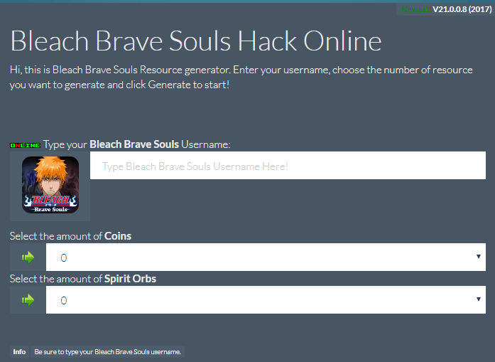 bleach brave souls cheats website screenshot