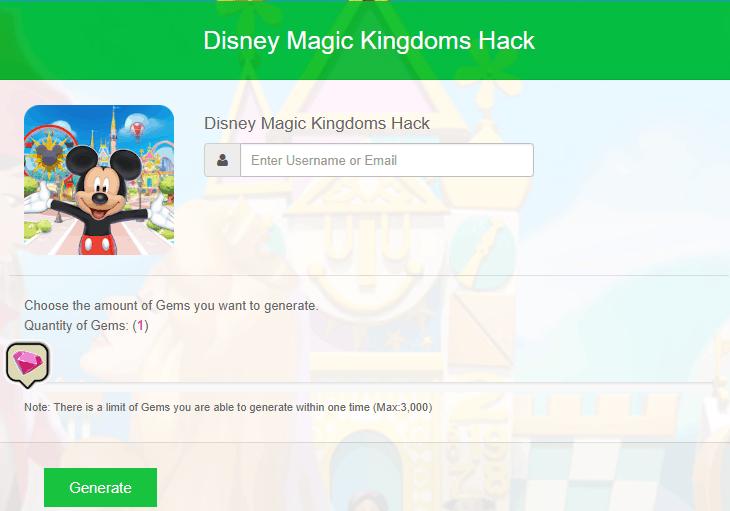 Screenshot of a Disney Magic Kingdoms hacking website