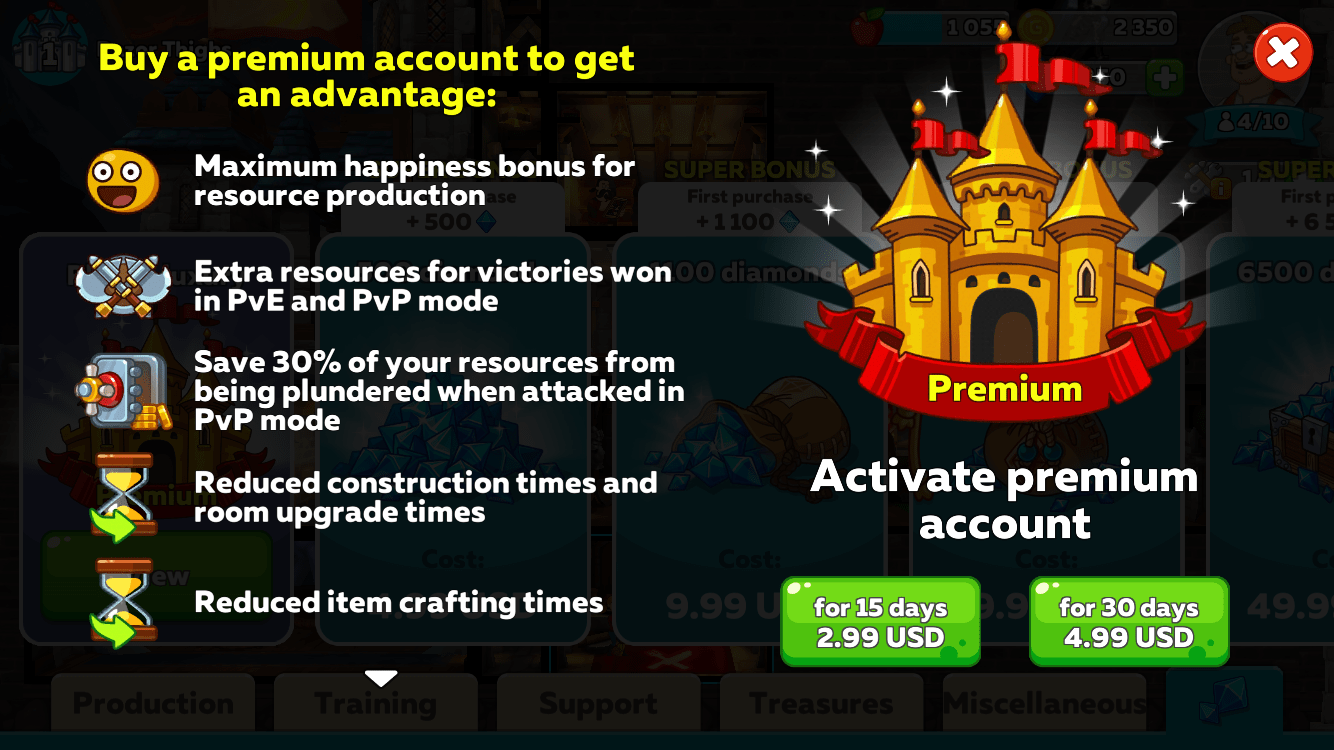 premium account hustle castle