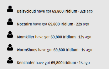 second galaxy iridium generator recent activity screenshot