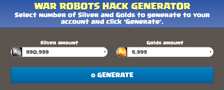 screenshot of war robots gold and silver generator